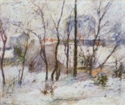 Snowy Trees Paintings - Garden under Snow by Paul Gauguin