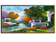 Landscape Reliefs Metal Prints - Garden view 1 Metal Print by Interior Aishwarya