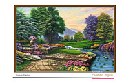Landscape Reliefs Metal Prints - Garden view 2 Metal Print by Interior Aishwarya