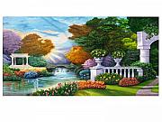 Featured Reliefs Posters - Garden View Landscape 1 Poster by Prashant Hajare