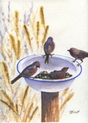 Birdseed Art - Garden Visitors by Marsha Elliott