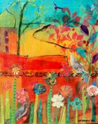 Flowers Mixed Media Originals - Garden Walls by Suzanne Kfoury