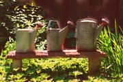 Cans Mixed Media - Garden Watering Cans by Smilin Eyes  Treasures