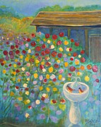 Arnold Originals - Garden with bird bath and old shed by Arnold Grace