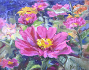 Zinnia Paintings - Garden Zinnias by Liz Maness