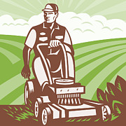 Agriculture Digital Art Metal Prints - Gardener Landscaper Riding Lawn Mower Retro Metal Print by Aloysius Patrimonio