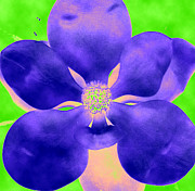 Mixed-media - Gardenia in purple and lime by Linnea Tober