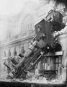 Accident Prints - Gare Montparnasse Train Wreck, 1895 Print by Photo Researchers