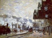 Travel Destination Paintings - Gare Saint-Lazare by Claude Monet