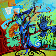 Gargoyle Paintings - Gargoyle Crows by Genevieve Esson