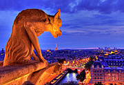 Illuminated Tapestries Textiles Metal Prints - Gargoyle De Paris Metal Print by Traumlichtfabrik