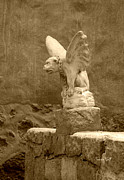 Historic Statue Digital Art Prints - Gargoyle in sepia Print by Suzanne Gaff