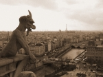 Notre Dame Cathedral Posters - Gargoyle Looking Over Paris Poster by Mark Currier