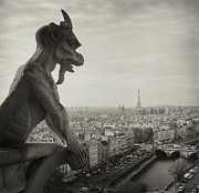 Black-and-white Posters - Gargoyle Of Notre Dame Poster by Zeb Andrews