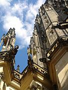 Catherdral Prints - Gargoyles on St. Vitus Cathedral Print by John Julio