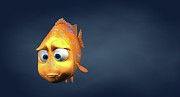 Humor Prints - Garibaldi Fish In 3d Cartoon Print by BaloOm Studios