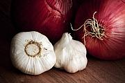 Ingredient Framed Prints - Garlic and Onions Framed Print by Tom Mc Nemar