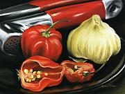 Hot Peppers Pastels Prints - Garlic n Peppers Print by Karen Elkan