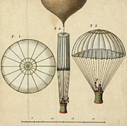 Aviation Pioneers Prints - Garnerins Parachute Design, 1797 Print by Library Of Congress