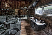 Kitchen Plates Acrylic Prints - Garnet Ghost Town Hotel Kitchen - Montana Acrylic Print by Daniel Hagerman