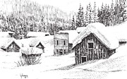 Towns Drawings - Garnet Ghost Town Winter Montana by Kevin Heaney