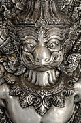 Pattern Sculpture Framed Prints - Garuda silver Framed Print by Panupong Roopyai