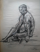 Seated Nude Drawing Prints - Gary seated Print by Gill Kaye
