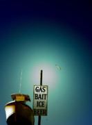 Sign Digital Art Framed Prints - Gas Bait Ice Beer Framed Print by Steven  Digman