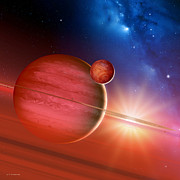 Gas Giant Posters - Gas Giant Around A Young Star Poster by Detlev Van Ravenswaay