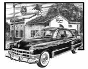 Vintage Car Drawings Prints - Gas Hog 41 Print by Peter Piatt