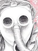 Blake Drawings Posters - Gas Mask Poster by Blake Grigorian