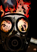 Fiery Pyrography Posters - Gas Mask Poster by Rich Chegwidden