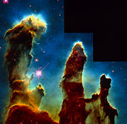 Star Birth Posters - Gas Pillars In Eagle Nebula Poster by Nasaesastscij.hester & P.scowen, Asu
