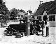 Historic Tank Framed Prints - Gas Station Framed Print by Photo Researchers