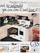 Home Appliance Framed Prints - Gas Stove Ad, 1950 Framed Print by Granger