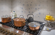 Teapot Posters - Gas Stove And Copper Pots Poster by Noam Armonn