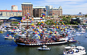 Pirate Ship Photo Prints - Gasparilla and Harbor Island Florida Print by David Lee Thompson
