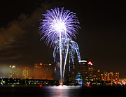 Pirate Ship Prints - Gasparilla fireworks Print by David Lee Thompson