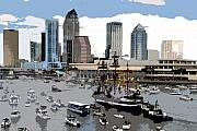 Tampa Skyline Posters - Gasparilla invasion work number 6 Poster by David Lee Thompson