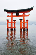 Shrine Island Prints - Gate at Itsukushima-Jinja Shrine Print by Jeremy Woodhouse