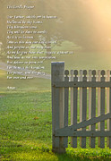Pastoral Art - Gate in Morning Fog with Lords Prayer by Olivier Le Queinec