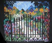Quilted Wall Hanging Tapestries - Textiles Posters - Gate into the Garden Poster by Sarah Hornsby