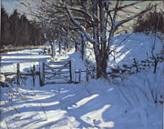 Winter Landscape Paintings - Gate near Youlgreave Derbyshire by Andrew Macara