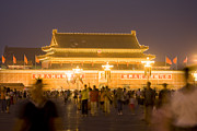 Town Square Prints - Gate Of Heavenly Peace (under Renovation) At Night From Tiananmen Square Print by Lonely Planet