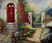 House With Garden Framed Prints - Gate to the hidden Garden  Framed Print by Gina Femrite