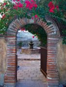 Brick Prints - Gate to the Sacred Garden and Bell Wall Mission San Juan Capistrano California Print by Karon Melillo DeVega