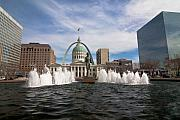 Fountain Scene Framed Prints - Gateway Arch and Old Courthouse in St. Louis Framed Print by Sven Brogren