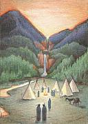 Native American Drawings - Gathering At The Falls by Amy S Turner