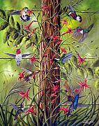 Hummingbirds Prints - Gathering At The Fencepost Print by David G Paul