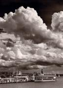 Storm Acrylic Prints - Gathering Clouds Over Lake Geneva BW Acrylic Print by Steve Gadomski